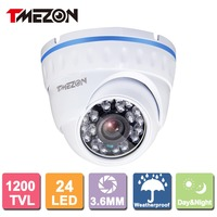 Tmezon HD 1200TVL Dome Metal Camera Home Indoor Security Surveillance System Outdoor Waterproof Auto Night Vision
