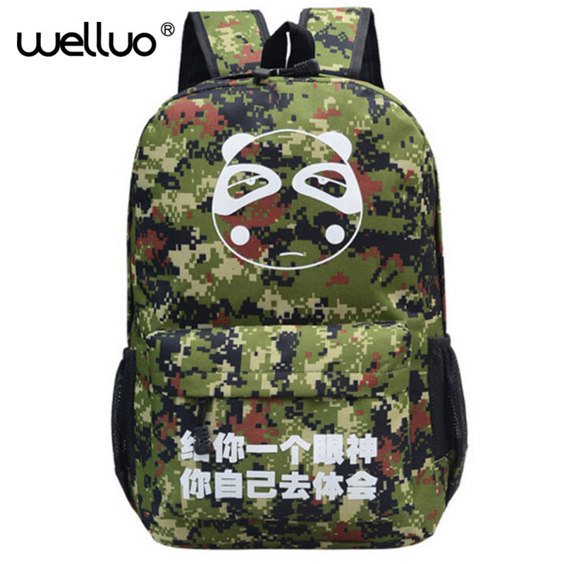 Womens Man Luminous Black Backpack Canvas School Book Bags Computer Backpack women student bag Large capacity