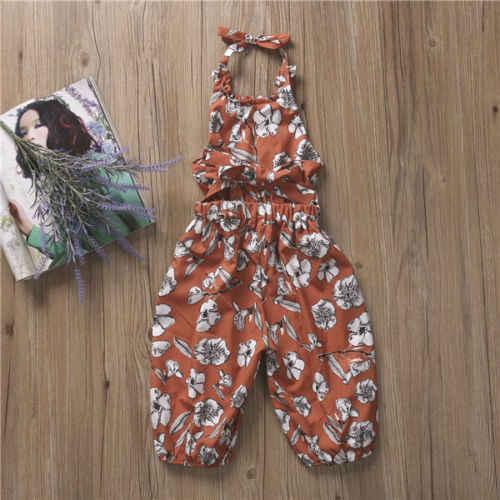 Pudcoco/Летний комбинезон на лямках для маленьких девочек; шаровары; брюки; комбинезон с цветочным принтом; одежда