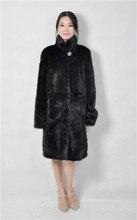 2016 winter woman fashion real fur mink coat stand collar 90cm length genuine leather mink fur