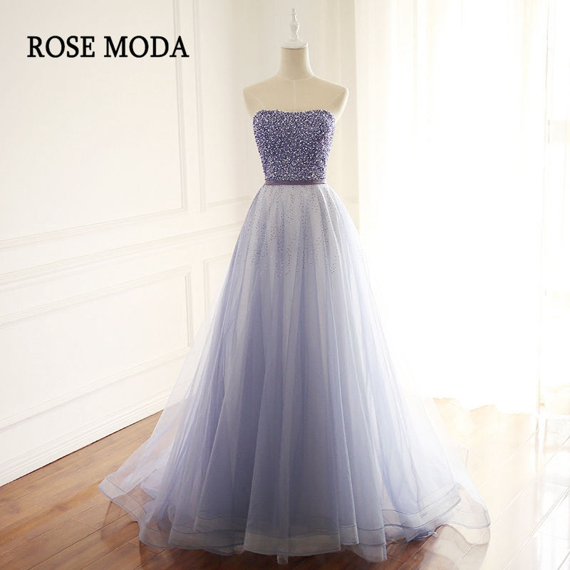 Rose Moda Strapless Blue   Prom     Dress   Long Beaded   Prom     Dresses   2018 with Train Lace Up Back