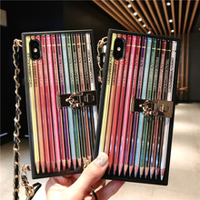 Luxury TPU Rainbow Pencil Letter Girl Phone Case For iphone7 8 6s plus 8plus Oblique Cross Chain Stand Cases For iPhone X XR XS цена и фото
