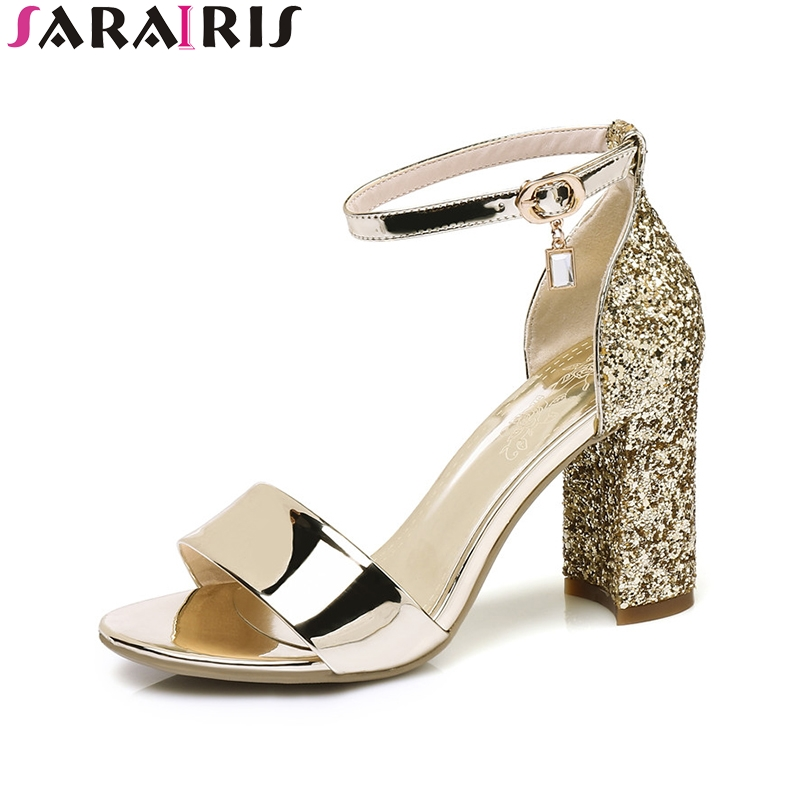 SaraIris 2018 Summer Fashion Elegant Bling Sandals Glitter Casual Shoes Woman Large Size 32-43 Super High Heels Women Shoes phyanic summer gladiator sandals 2017 bling glitter platform shoes woman casual beach creepers women flats shoes phy4042