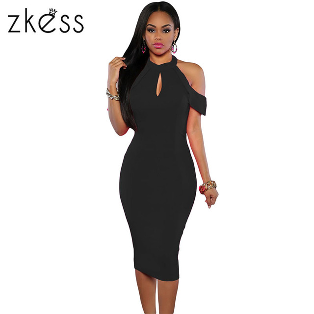 115a63d58ec0 Zkess Black Cold Shoulder Midi Dress Women Cutout Halter Sexy Slim Sexy  Night Club Halterneck Skinny Bodycon Dress LC61125