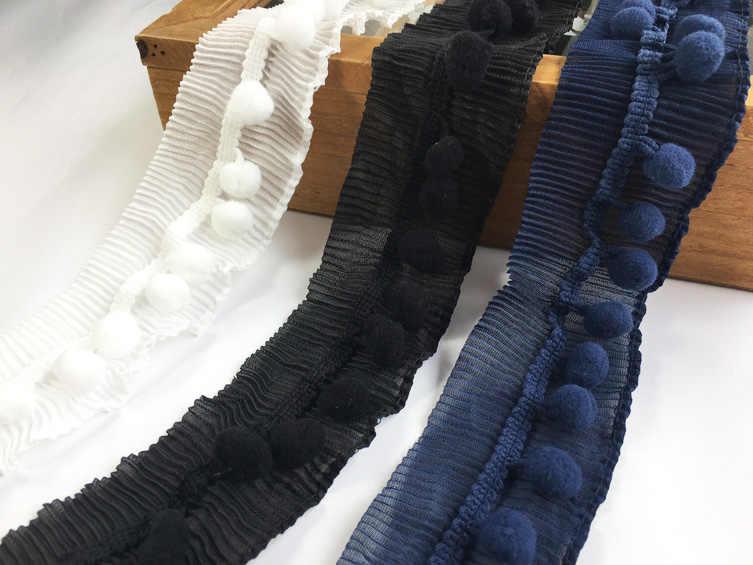 Organ gấp lá sen ren xếp li đàn hồi pompom trim ren ribbon cổ áo cuff petwear DIY trang trí May guipure P043