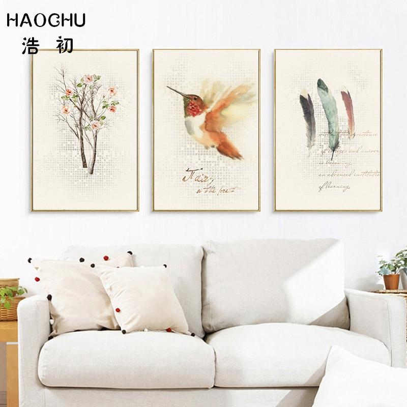 Haochu nordic birds wood feather canvas landscape art - Landscape paintings for living room ...