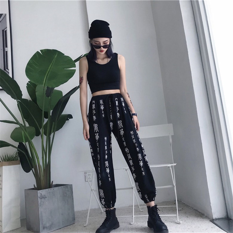 OCEANLOVE Print Chinese Character Sweatpants Drawstring Loose Streetwear Ankle-length Pants 2019 Spring High Waist Trouser 11294 8