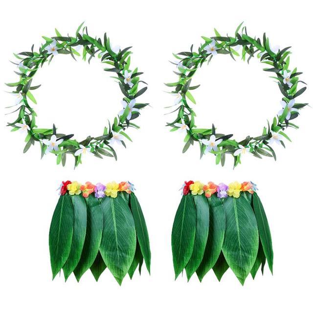 4 pz Adulto Tropicale Vestiti Hawaii Costume Lascia Pannello Esterno Gonna di Erba Hawaiano Spiaggia del Pannello Esterno di Ballo con Ghirlanda per Traval Festival