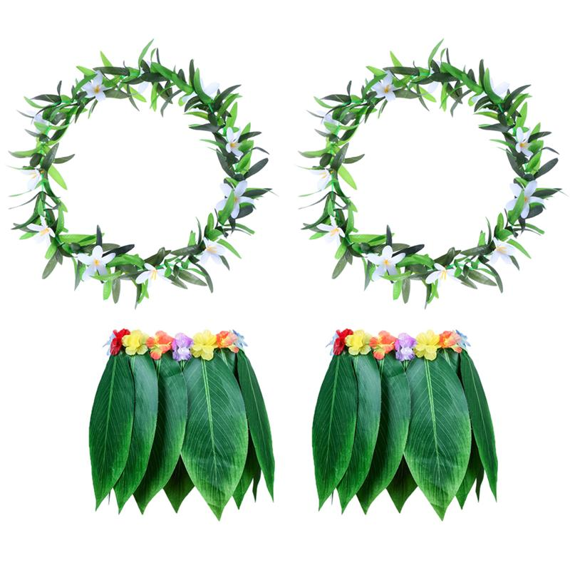4PCS Adult Tropical Hawaiian Beach Clothes Hawaii Costume Leaves Skirt Grass Skirt Dance Skirt with Garland for Traval Festival-in Party DIY Decorations from Home & Garden