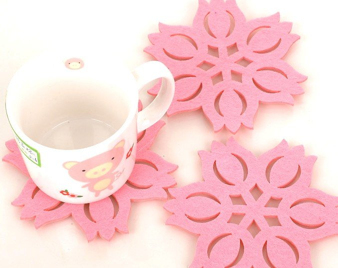 #FG104 Pink <font><b>snowflake</b></font>&maple leaf&water lily thermostability creative coasters mats pads <font><b>cup</b></font> 30pcs(lot) wholesale freeshipping