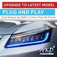 AKD тюнинг Автомобильные фары для Honda Accord G8 2008 2013 фары Полный СВЕТОДИОДНЫЙ DRL ходовые огни биксеноновый луч динамический сигнал