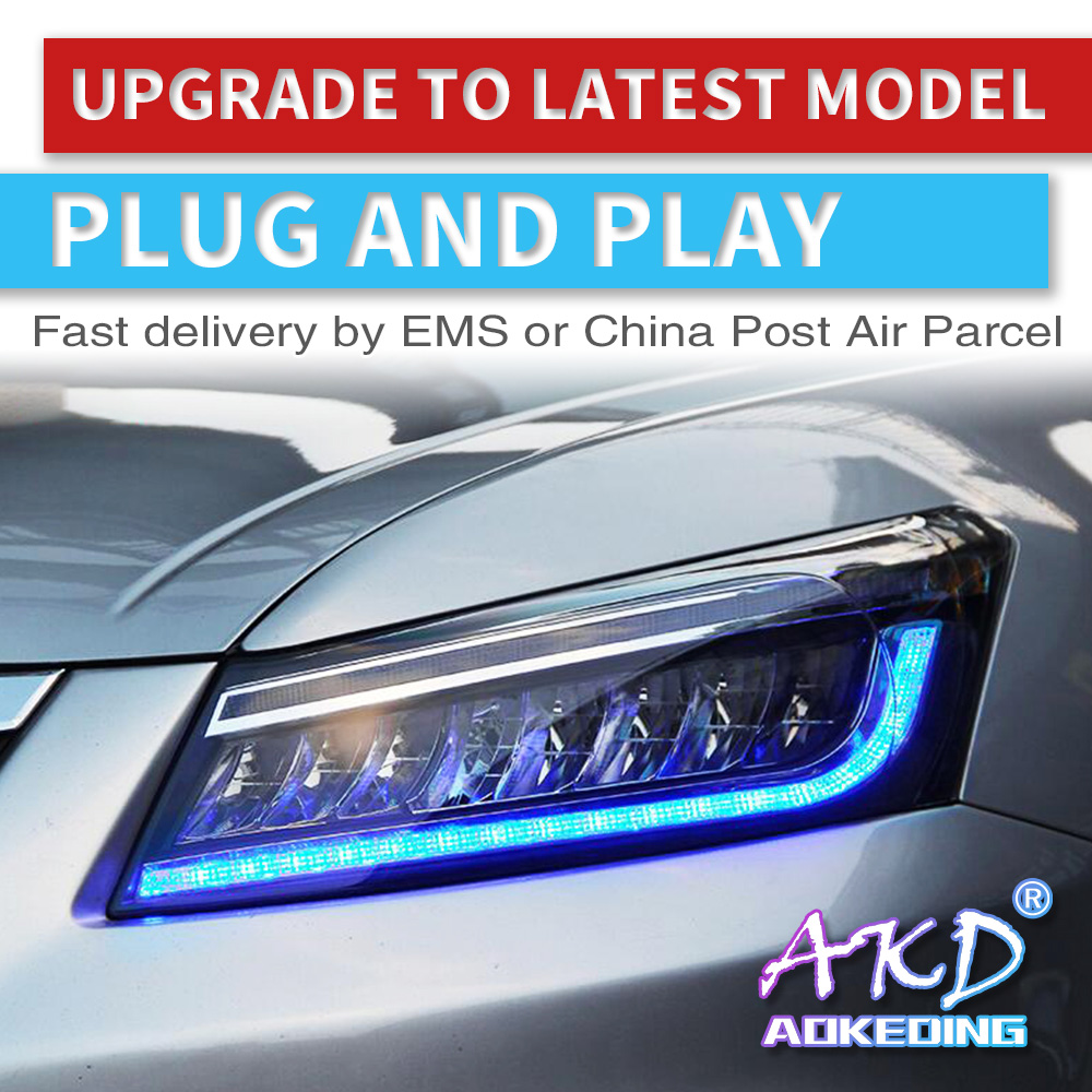 AKD tuning cars phare pour Honda Accord G8 2008-2013 phares plein LED DRL feux de route bi-xénon faisceau dynamique signal