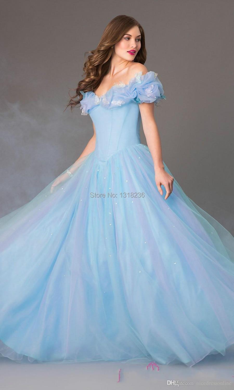 Off shoulder Bodice Sky Blue Cinderella Ball Gown Prom Dresses ...