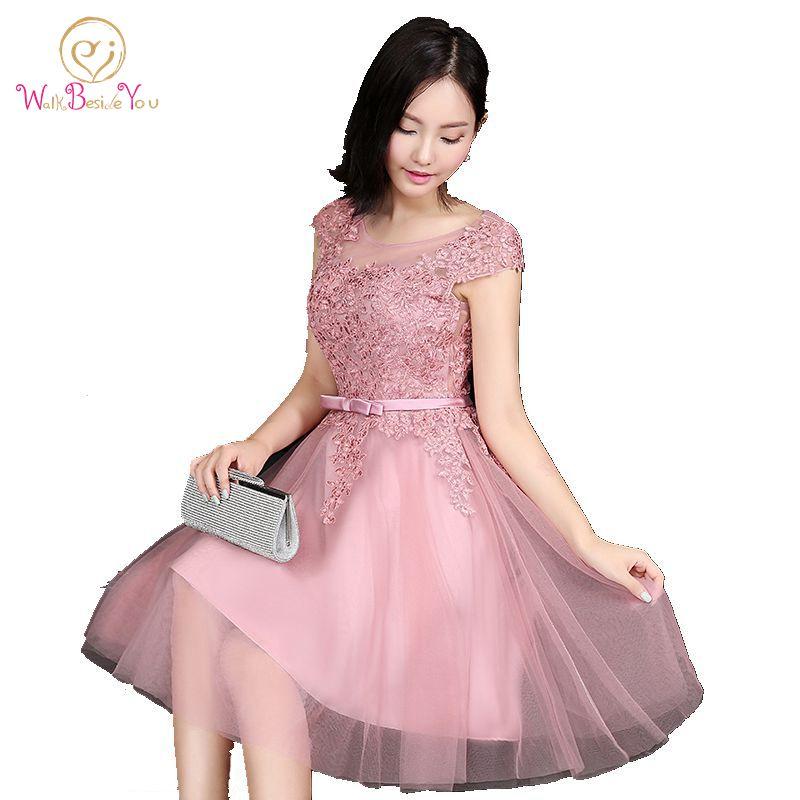 √Walk beside you 2018 Pink Vestidos de baile Encaje Appliques corto ...