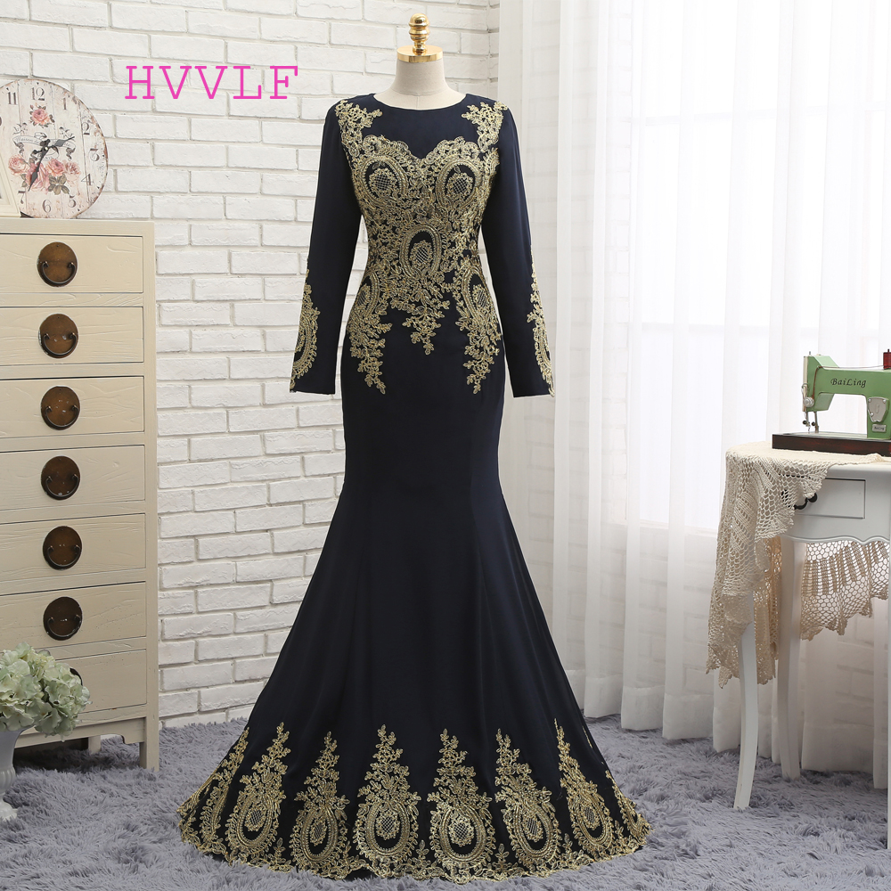 HVVLF Muslim   Evening     Dresses   2019 Mermaid Long Sleeves Chiffon Appliques Lace Elegant Long   Evening   Gown Prom   Dress   Prom Gown
