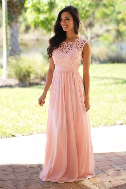 e14af8c97d9 Blushing Maxi Bridesmaid Dresses 2019 Long Lace Chiffon Floor Length Summer  Beach Wedding Party Dresses Country Western Style