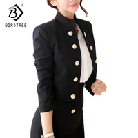 OL Style Lady Blazers 2018 Spring Long Sleeves Double Breasted Blazers Suit Womens Coat Short Blazers