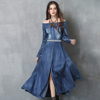 Huality Quality Women's Dress 2018 New Spring Denim Dress Vintage Embroidery Belt Long Sleeve Dress Slash Neck Mid Calf A Line