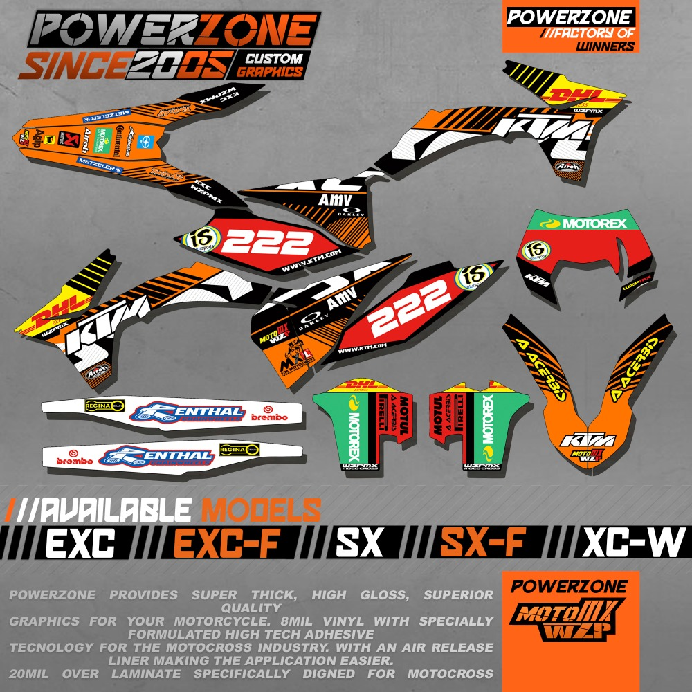 CustomizableTeam Graphics Backgrounds Decals 3M Stickers Kits KTM SX SXF EXC XCW 125 250 450 530 2003 -2017 - PowerZone Co.,Ltd store