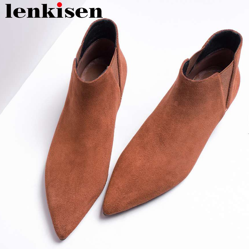 Lenkisen look slim slip on low heels solid pointed toe natural leather hollywood movie stars chelsea boots women ankle boots L18