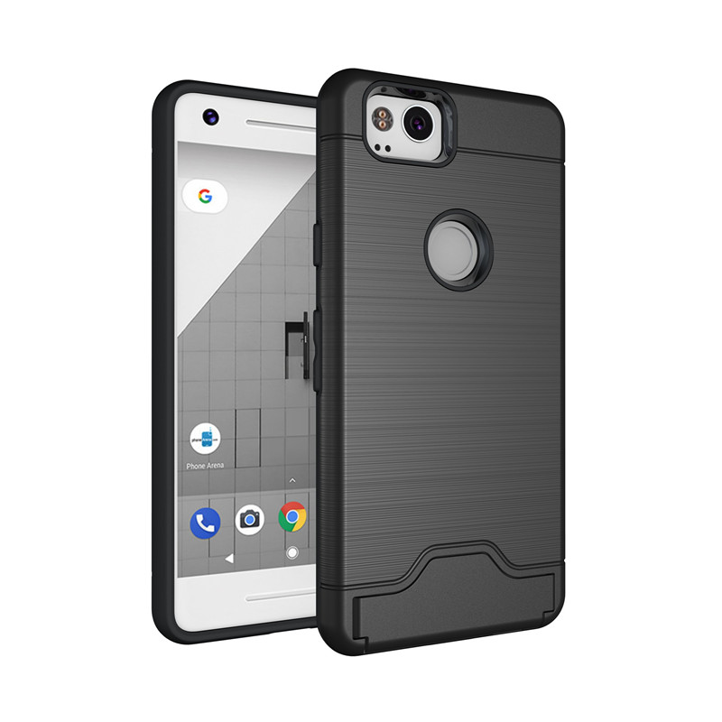 Durable Hidden Card Slot Phone Case Luxury Slim Drawing Hybride Anti-Slip Shockproof Back Cover For Google pixel 2/pixel 2XL
