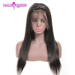HALOQUEEN человеческие волосы парики прямые предварительно выщипанные Волосы Детские волосы 8-28 дюймов Remy человеческие индийские волосы