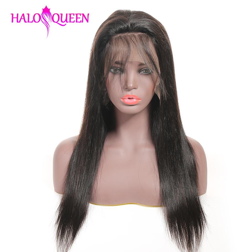 HALOQUEEN Human Hair Wigs Straight Pre Plucked Hairline Baby Hair 8 28 Inch Remy Human indian Innrech Market.com