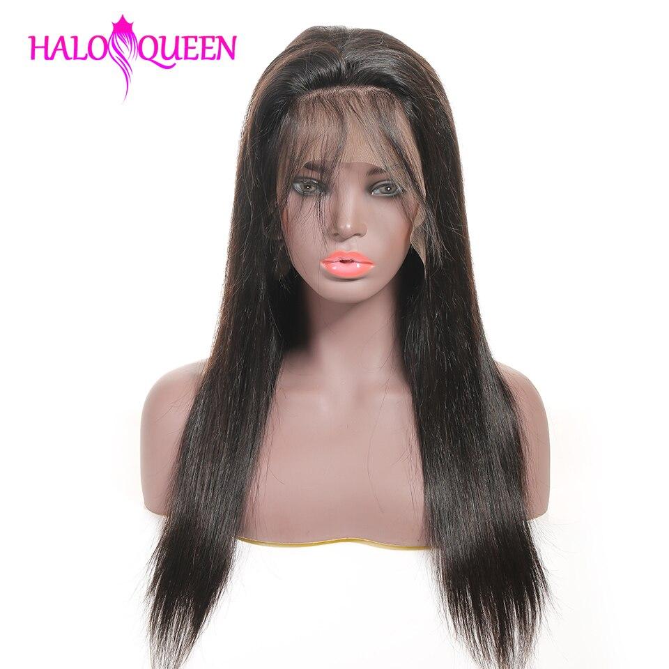Perucas de cabelo humano de haloqueen em linha reta pré arrancadas cabelo do bebê 8-28 Polegada remy perucas de cabelo indiano humano 13x4 perucas de fechamento do laço