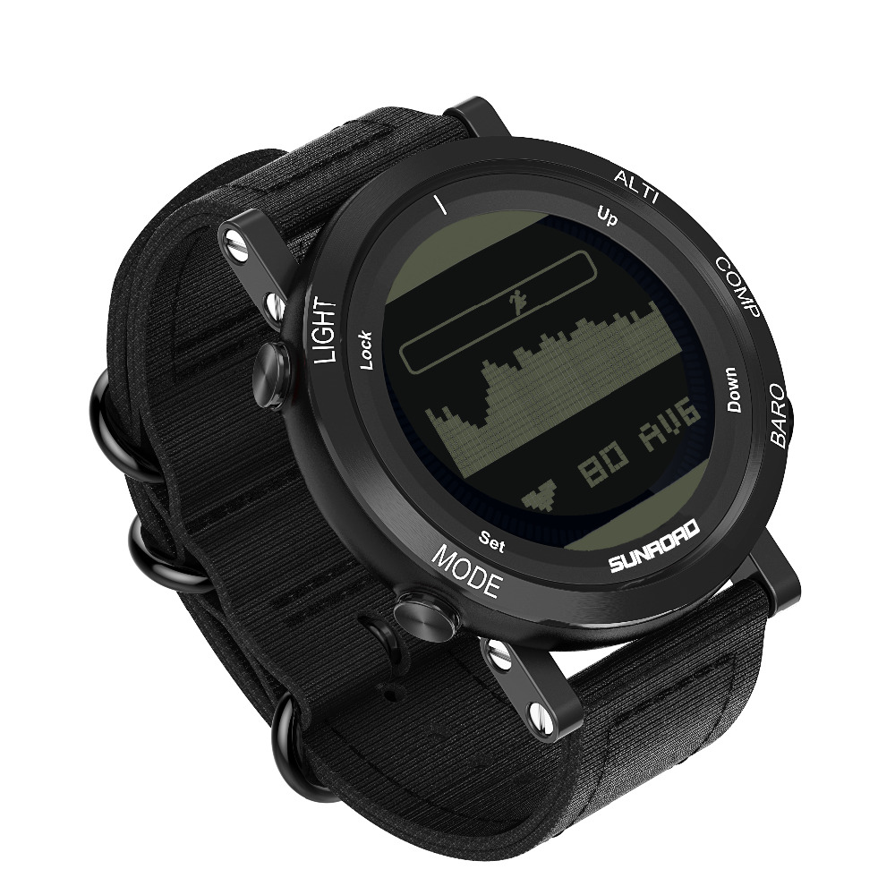 SUNROAD Outdoor Men &Women Sports Digital Watch FR851 Barometer Altimeter Compass Pedometer Time Date Watch With Nylon StrapSUNROAD Outdoor Men &Women Sports Digital Watch FR851 Barometer Altimeter Compass Pedometer Time Date Watch With Nylon Strap