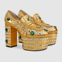 Crystal Rhinestone Womens Shoes Platform Chunky High Heel Pumps Genuine Leather Princess