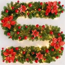 См 270 см Рождество гирлянда Зеленый ротанга с светодио дный луками светодиодные фонари рождественские украшения новый год Рождественское украшение для дома