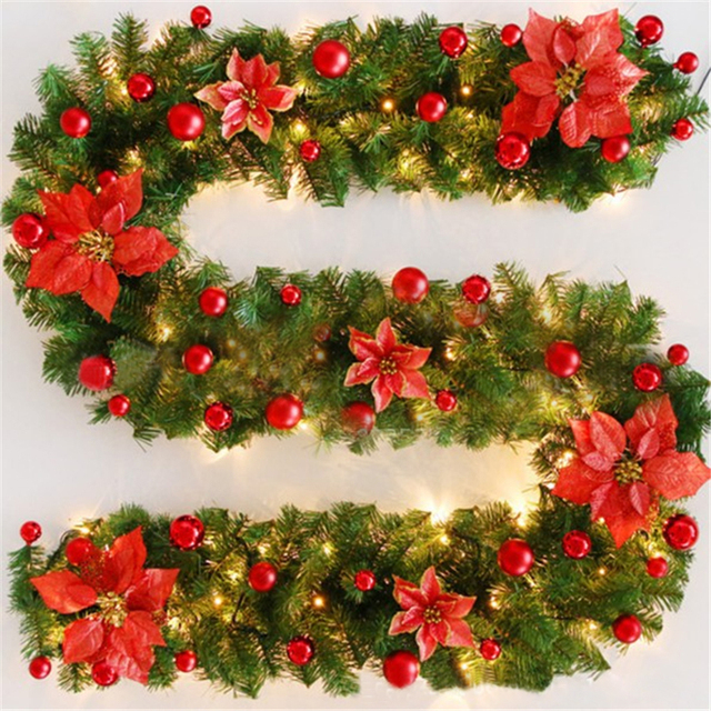 270cm christmas garland green christmas rattan with bows led lights xmas decoration supplies new year natal