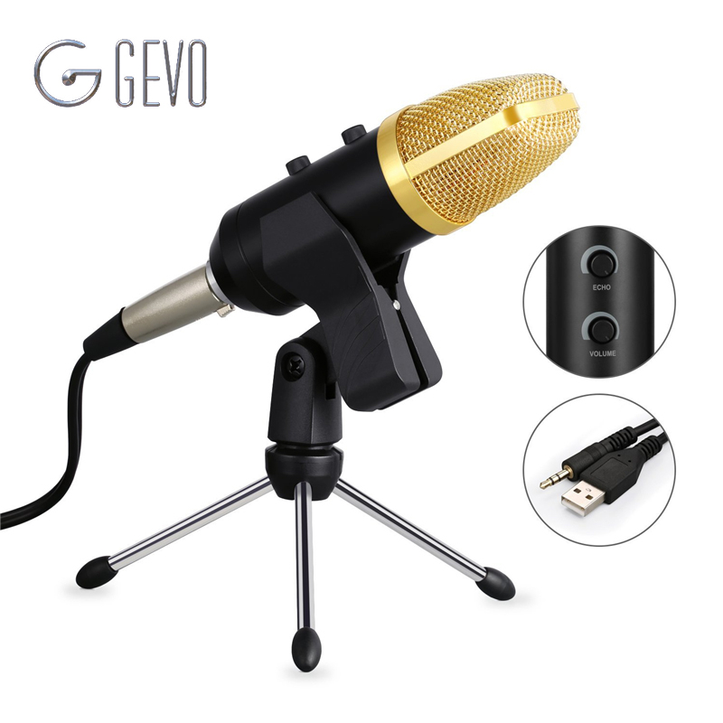 GEVO MK F100TL Microphone For Computer USB Condenser 3.5mm Studio Wired Tripod Handheld Mic For Karaoke Laptop Conference PC