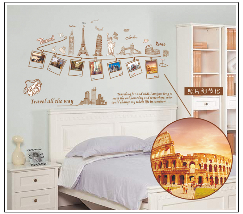 travelling around the world picture wall decor mural poster fake photo frame wall decals travel all - Travel Home Decor