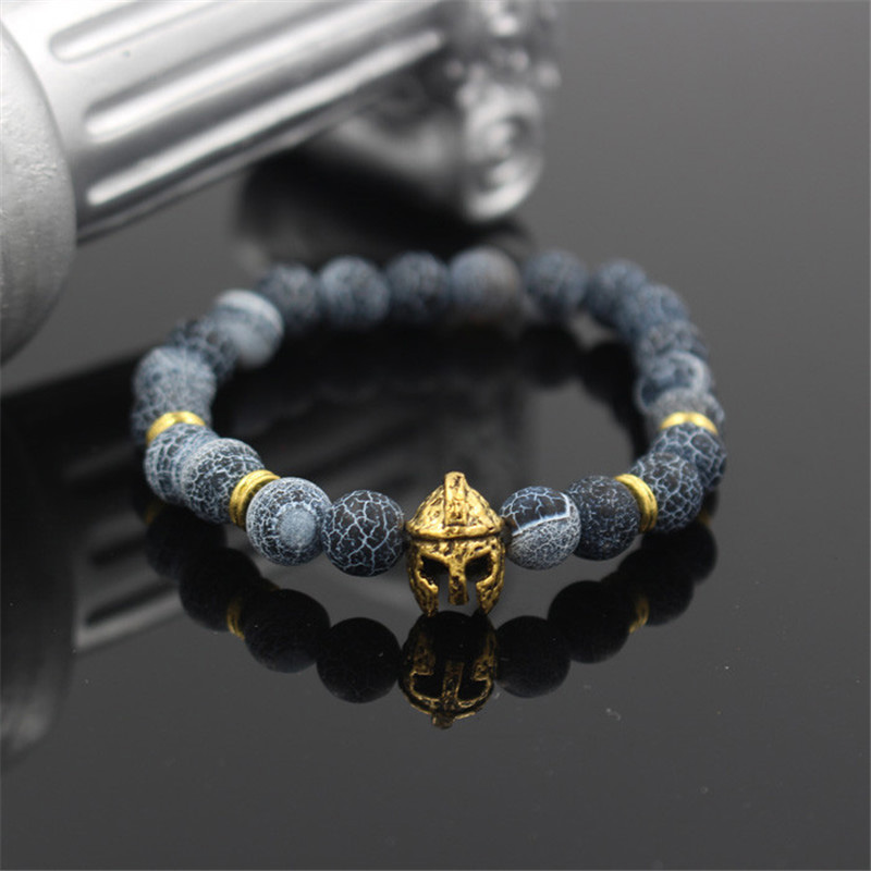 2018 Antique Silver Gold Color Roman Warrior Gladiator Helmet Charm Weathering Stone Bead Elastic Bracelet For Men Women Jewelry