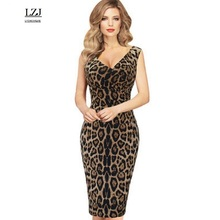 LZJ high quality new summer woman clothes vestidos sexy v neck strap sleeveless professional women working pencil dress size L35