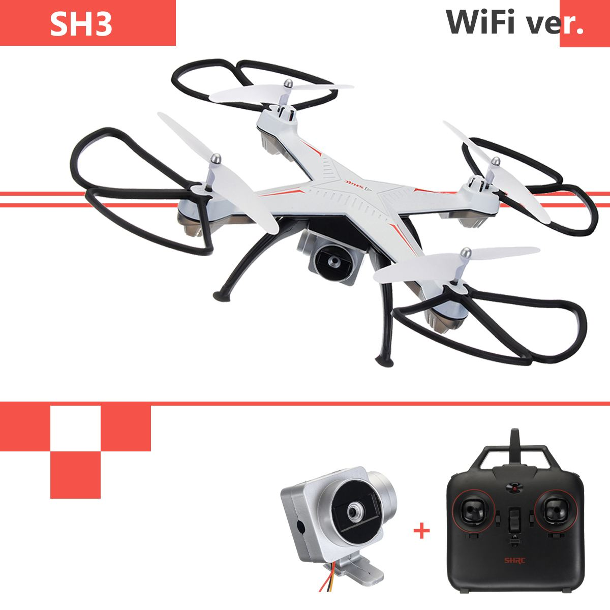 SH3 Helicopter 2.4GHz 4CH 6 Axis Drone 2.0MP HD Camera Quadcopter Aircraft for Kids Gift White Black GoldSH3 Helicopter 2.4GHz 4CH 6 Axis Drone 2.0MP HD Camera Quadcopter Aircraft for Kids Gift White Black Gold