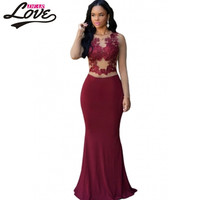 Hot Claret Royal Blue Nude Mesh Accent Maxi Dress LC60831 New Roupas Femininas Vestido Longo Sleeveless