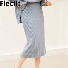 Flectit Fall Winter Women Ribbed Knit Midi Skirt Wool Blend