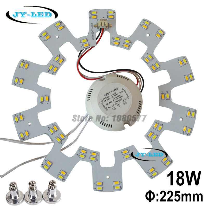 225mm 18W Ceiling Light Board LED Panel Double Color SMD5730 White/Warm White/Nature White Gear Lamp Plate + Screw + Driver 10w white 1200lm diy led ceiling panel light lamp board driver 85 265v
