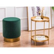 Бытовой низкий ножной стул круглые маленькие металлические скамейки Revivalism дети/дети стул, гостиная маленький чайный столик диван ткань