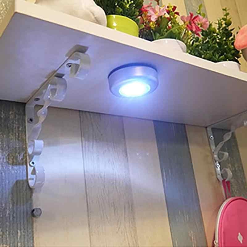 1 PC 3 LED Lampu Malam Lampu Dinding Dapur Lemari Pencahayaan Stiker Tekan Touch Lampu Kecil Dapur Lemari malam Lampu