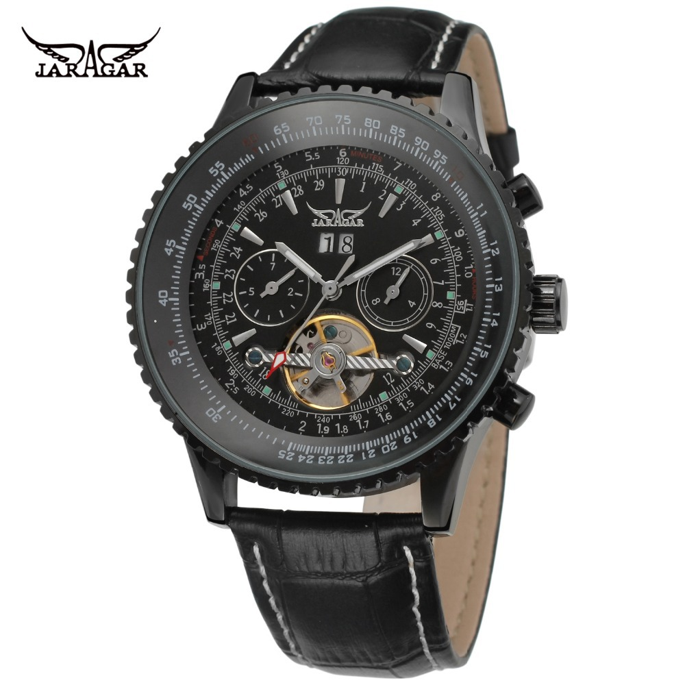 JARGAR Men's Watches New Style Hot-sale Fashion Multifunction Automatic Genuine Leather Band Wristwatches Color Black JAG034M3B1 jargar men s watches new style fashion tourbillon complete calendar genuine leather brand wristwatches color black jag16557m3