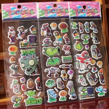 10PCS/lot 3D carton bubble sticker of Plants and the puffy stickers for kids birthday present,party favor