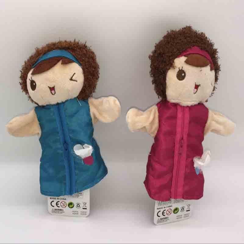 Childhood Pretty Girl Finger Puppet Baby Plush Toy for Children Favor Gift Family Dolls Kid Big Size Full Hand Stuff Figure Elve