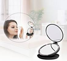 5X Magnifying And Normal Triple Folding Pocket Makeup Led Mirror Hand Compact Portable Chargeable Vanity Oval Cosmetic Mirror