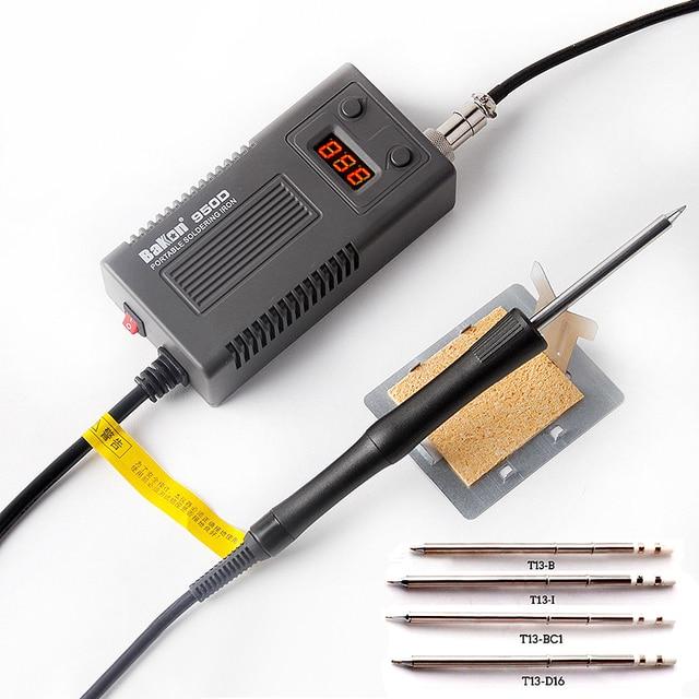 Электрический паяльник BAKON 950D 75 Вт с регулируемой температурой, паяльник T13 с наконечником, Мини Портативная сварочная ремонтная станция, инструменты