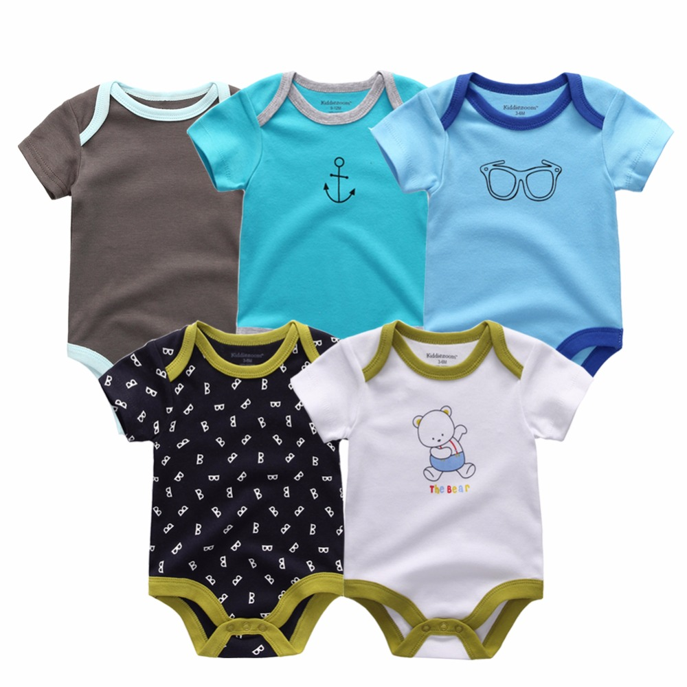 9d4ca17a51ee 5PCS/LOT Unisex Top Quality Baby Rompers Short Sleeve Cottom O-Neck 0-12M  Novel Newborn Boys&Girls Roupas de bebe Baby Clothes
