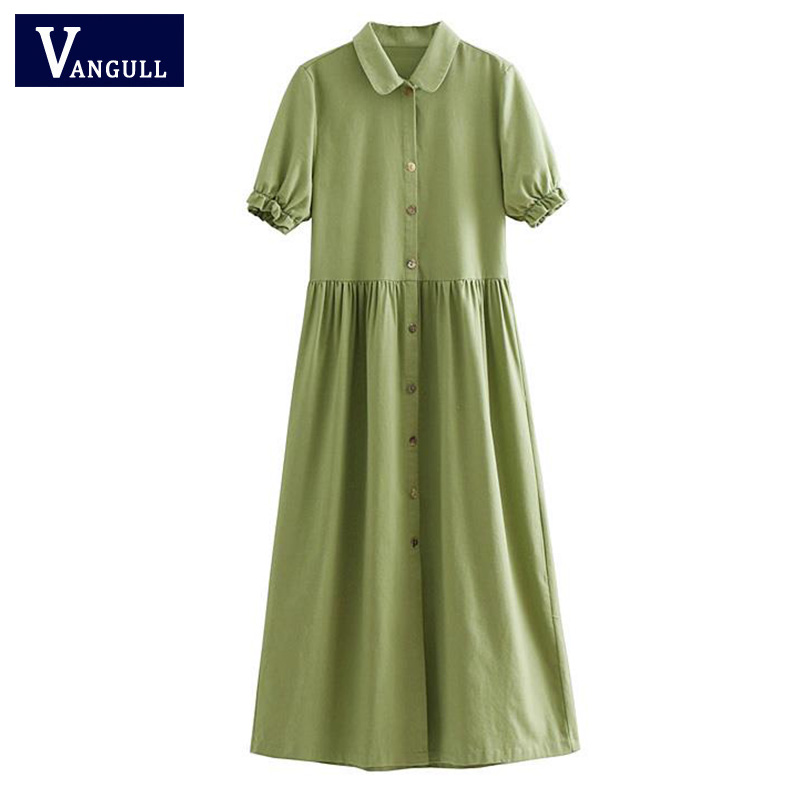 Women Vintage Mid-Calf Dress Ladies Elegant Turn-Down Collar Buttons Pleated Casual Dresses vestidos robe femme ete 2018 VANGULL