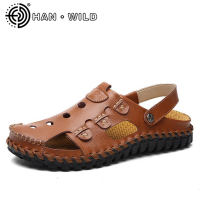 New Fashion Sandals Men Casual Shoes 100% Genuine Leather Beach Male shoes Mens Gladiator Sandal Cow Leather Sandals